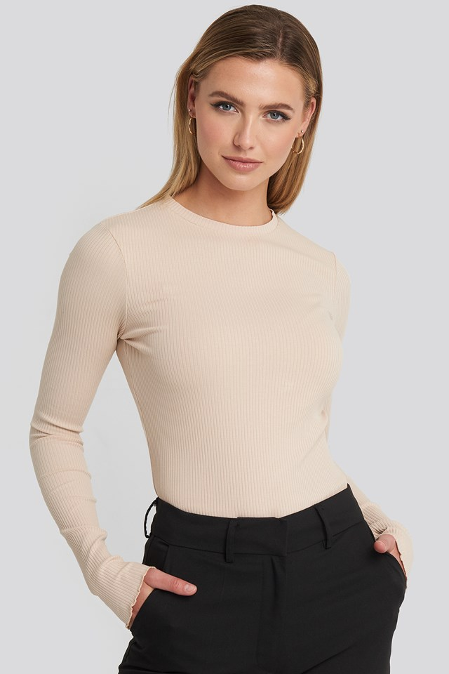 Jersey Ribbed Top Beige