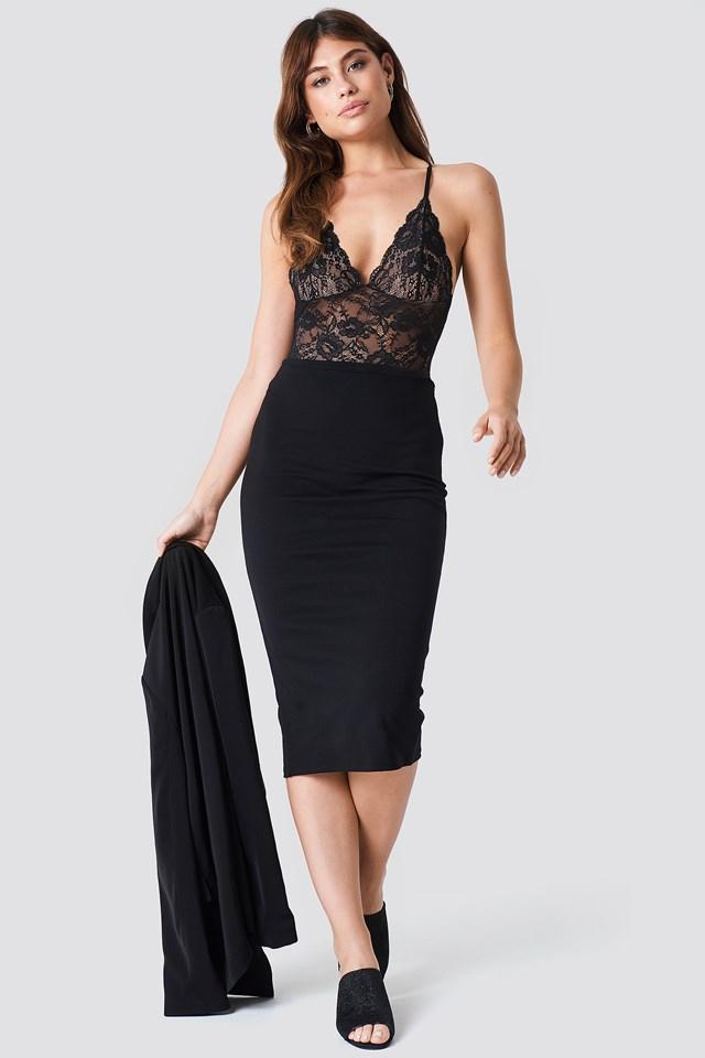 Jersey Midi Skirt Black