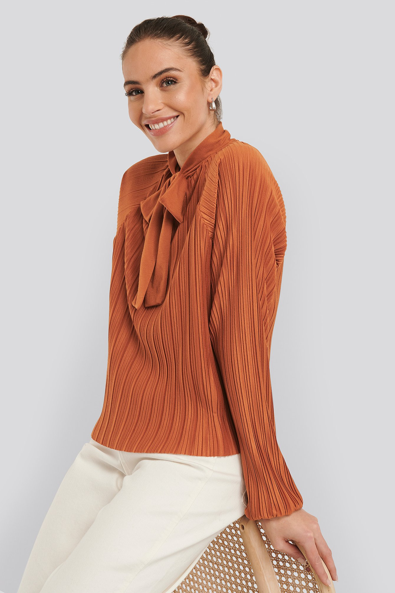 na-kd -  Jersey Plisse Boho Blouse - Orange