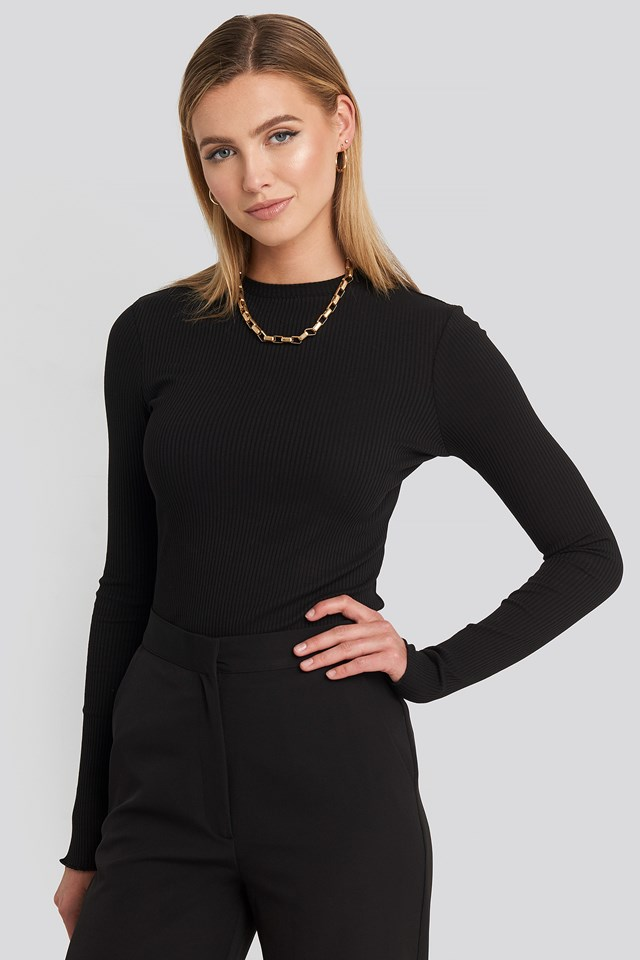 Jersey Ribbed Top Black