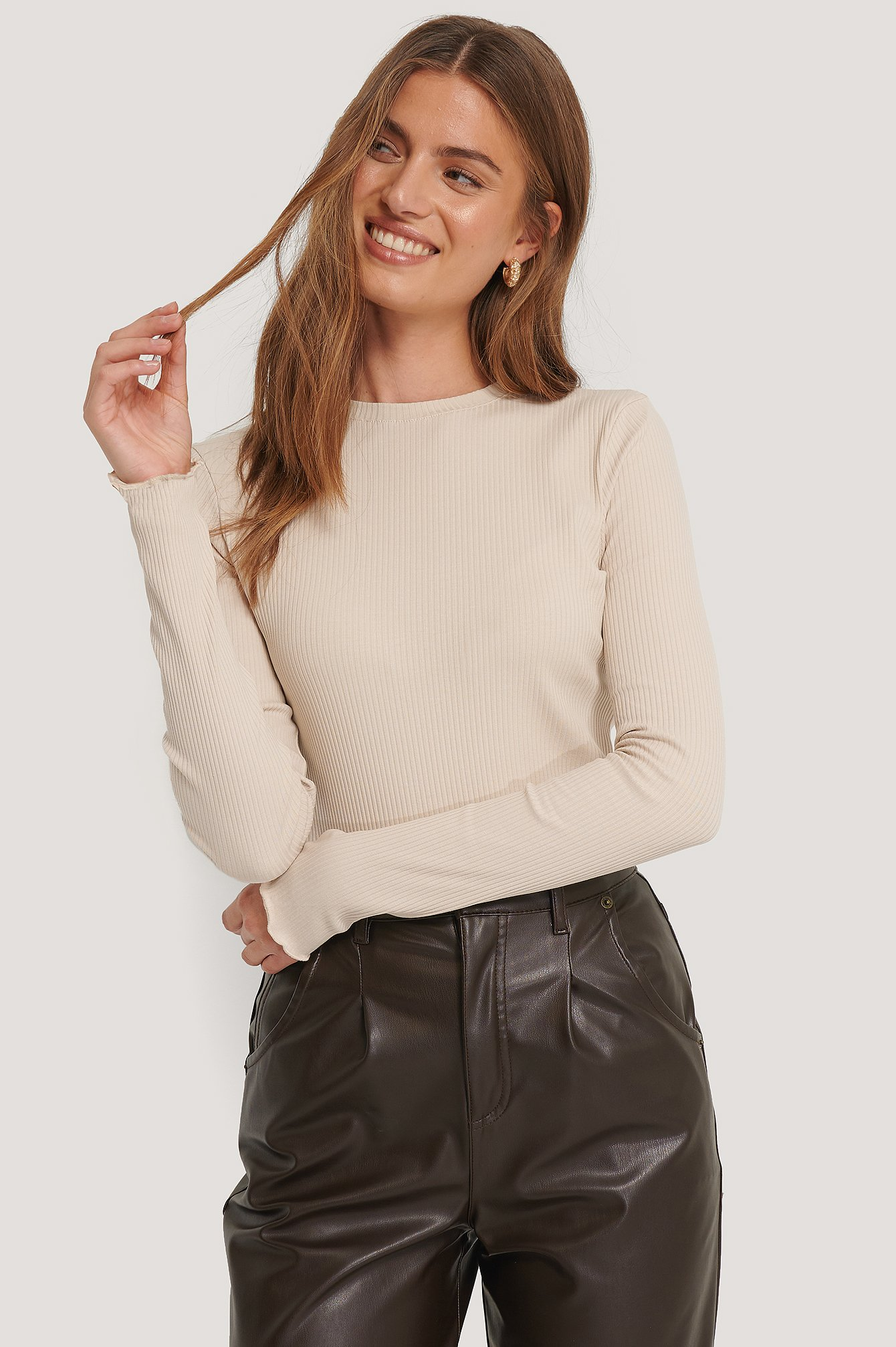 NA-KD Basic Jersey Ribbed Top - Beige | Bekleidung > Tops | NA-KD Basic