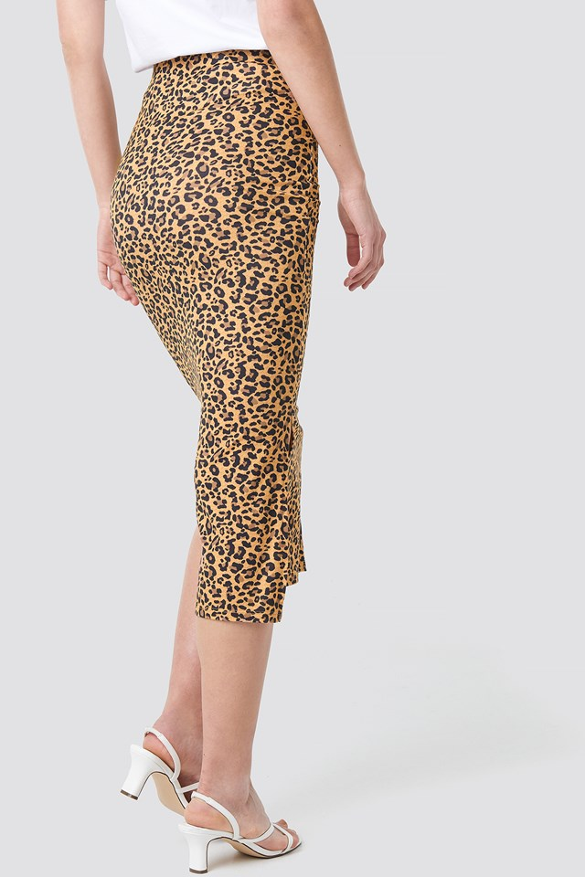 Jesey Side Slit Leo Printed Skirt Leoprint