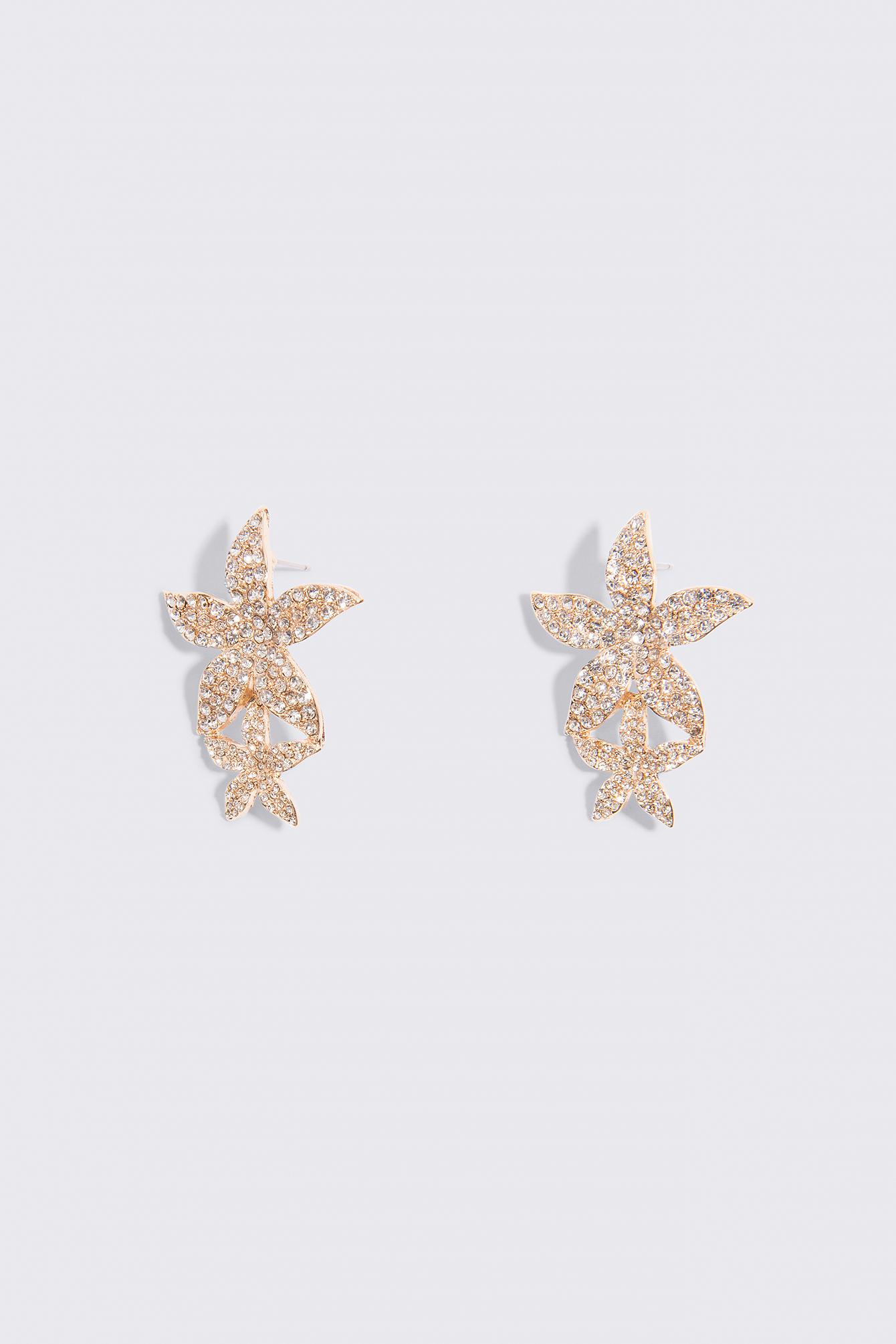 Kolczyki z ozdobnymi kamieniami Flower Petal NA-KD.COM