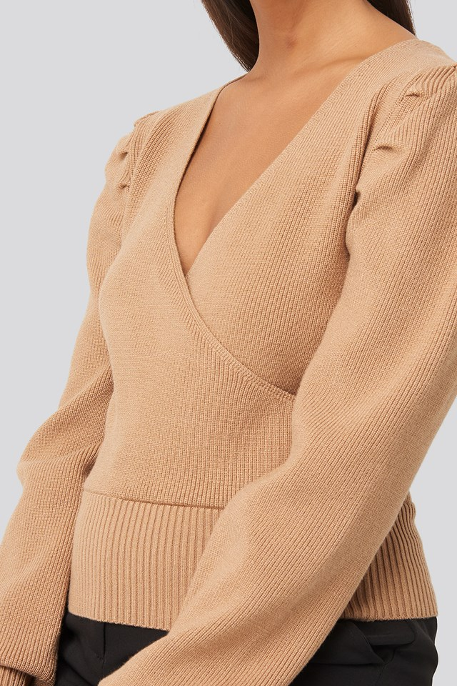 Joann Van Den Herik  Puff Sleeve Overlap Sweater Dk Beige