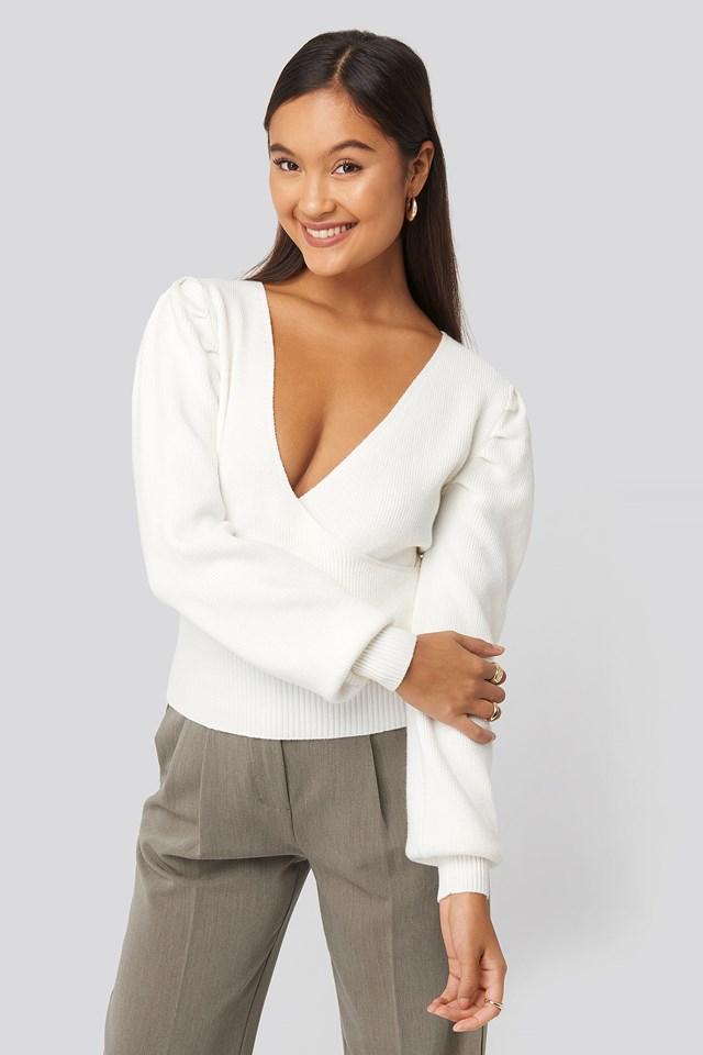 Joann Van Den Herik  Puff Sleeve Overlap Sweater Off White