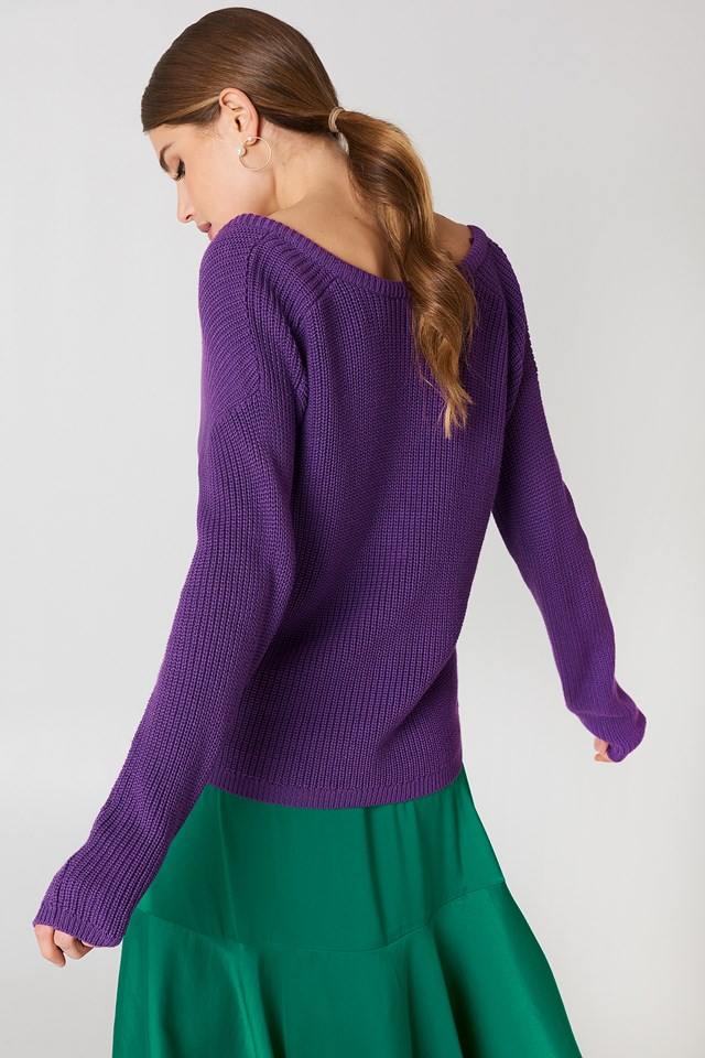 Deep V-neck Sweater Purple