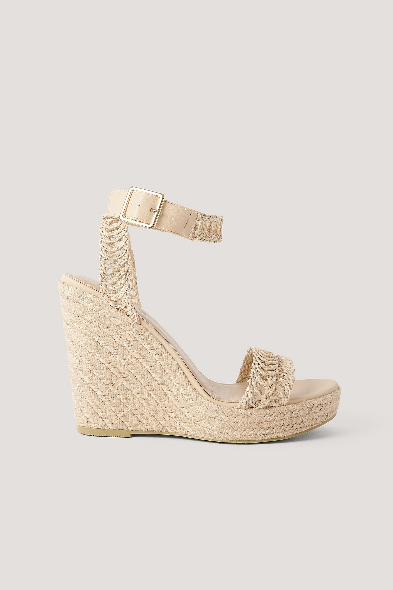 NA-KD Shoes Platformsandaler Med Jutestropper - Beige