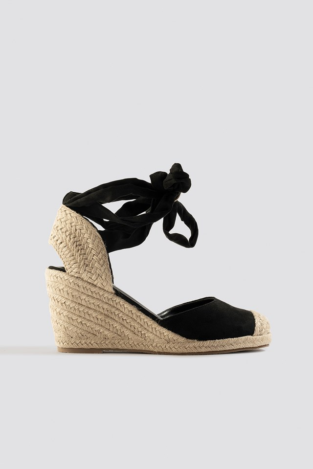 Jute Wedge Heel Sandals Black