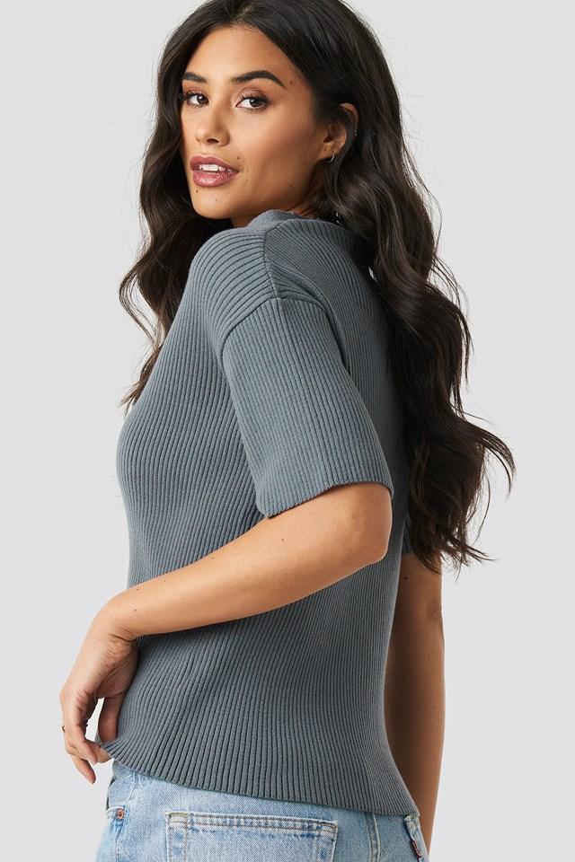 Karen Rib Knitted Button Tee Grey