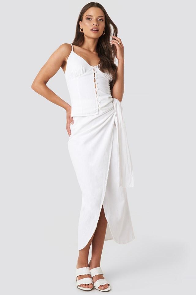 Kelsey Linen Look Singlet White