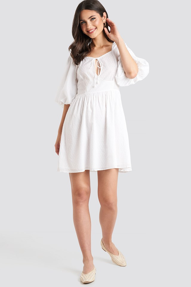 Key Hole Puff Sleeve Mini Dress White