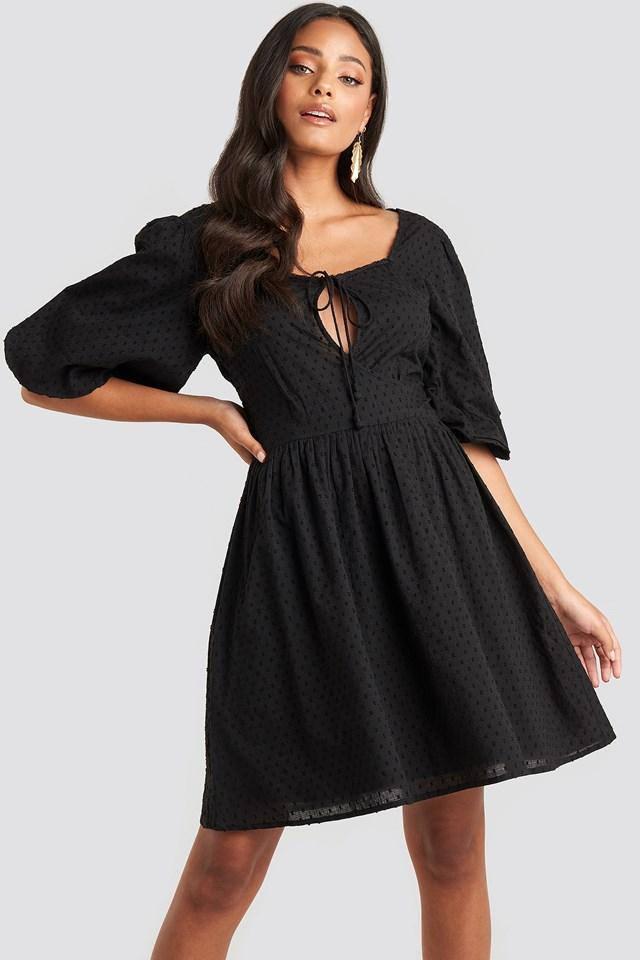 Key Hole Puff Sleeve Mini Dress Black