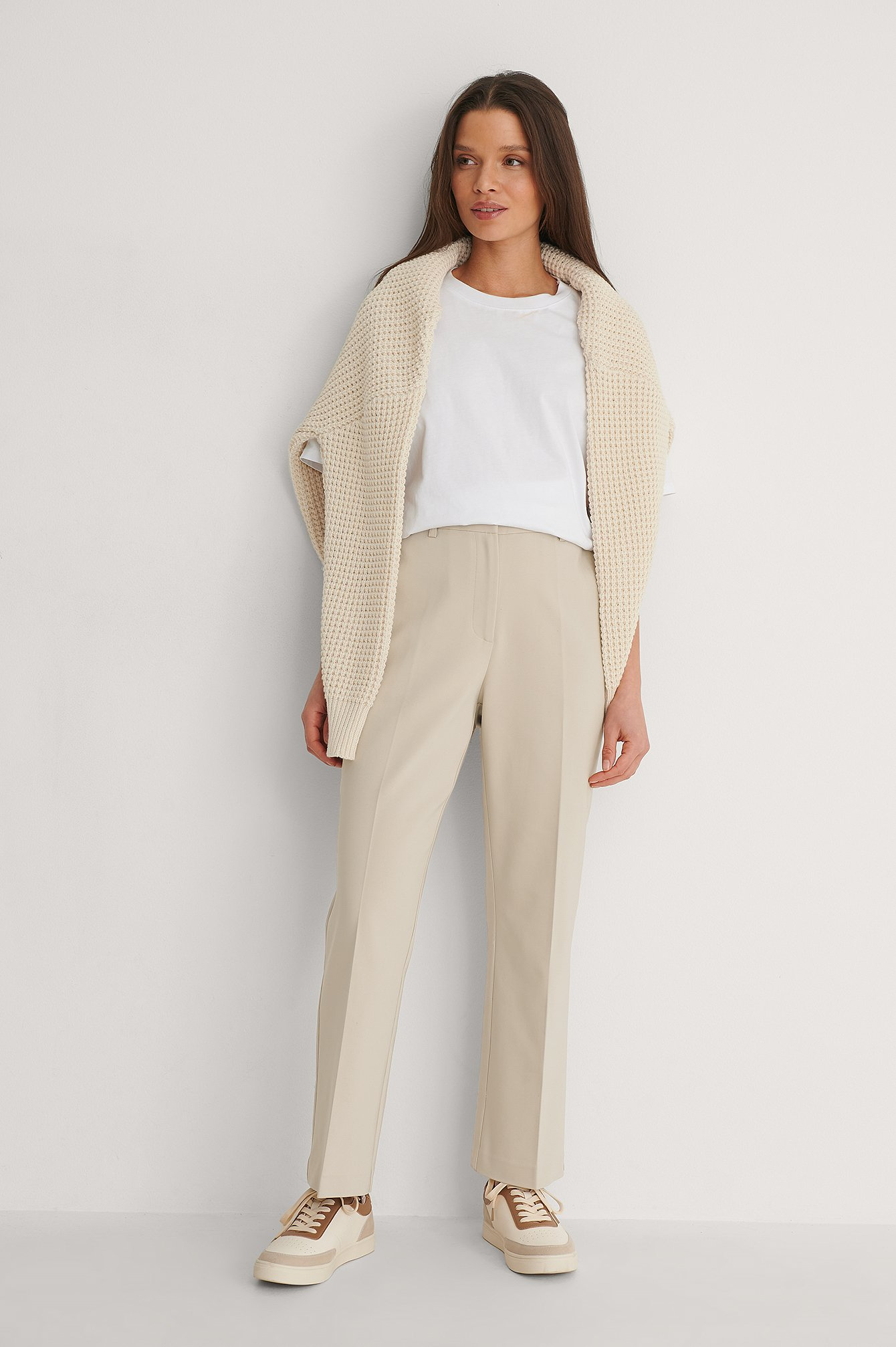 Beige Kick Flared Pants