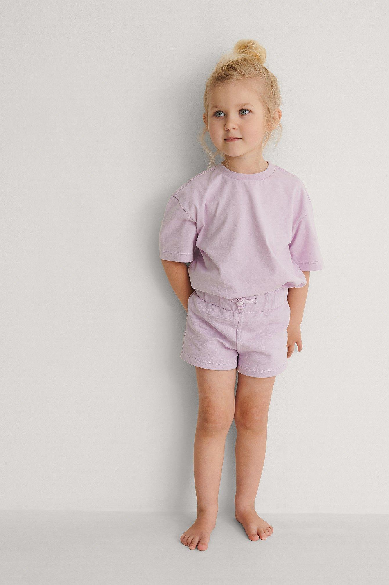 KIDS by NA-KD Orgaaniset Lyhyet Basic-Jerseyshortsit - Purple