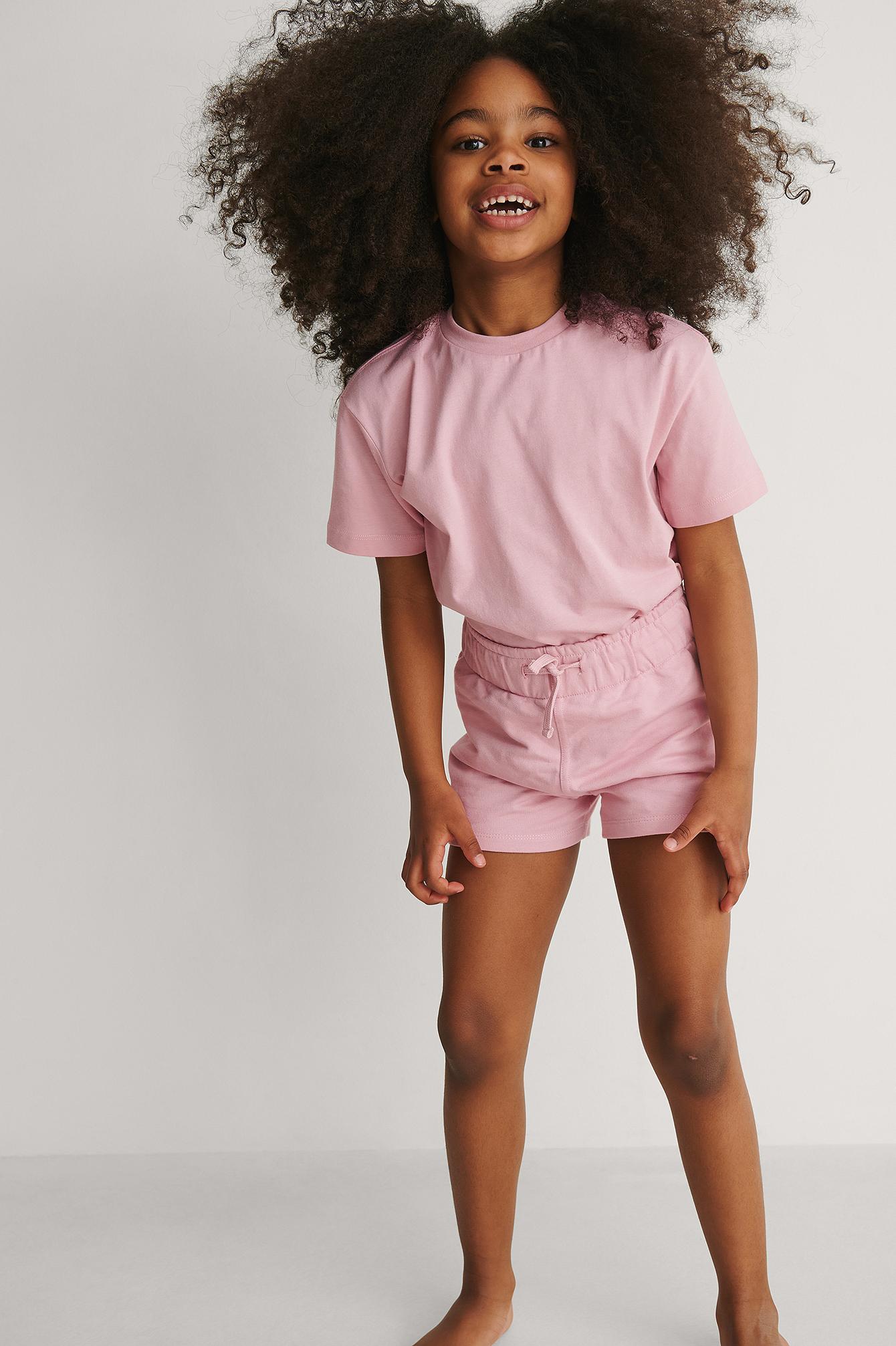 KIDS by NA-KD Orgaaniset Lyhyet Basic-Jerseyshortsit - Pink