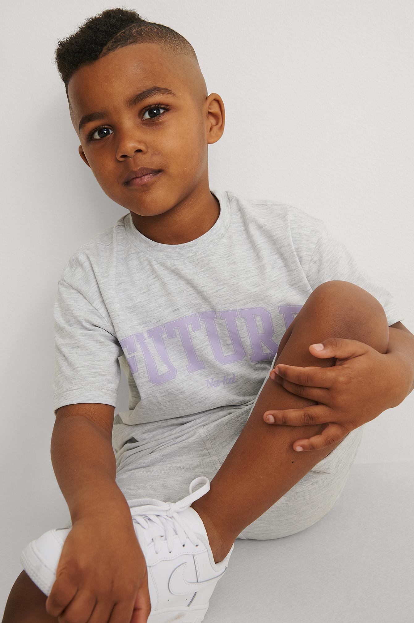 kids by na-kd -  Bio-T-Shirt Mit Aufdruck - Grey