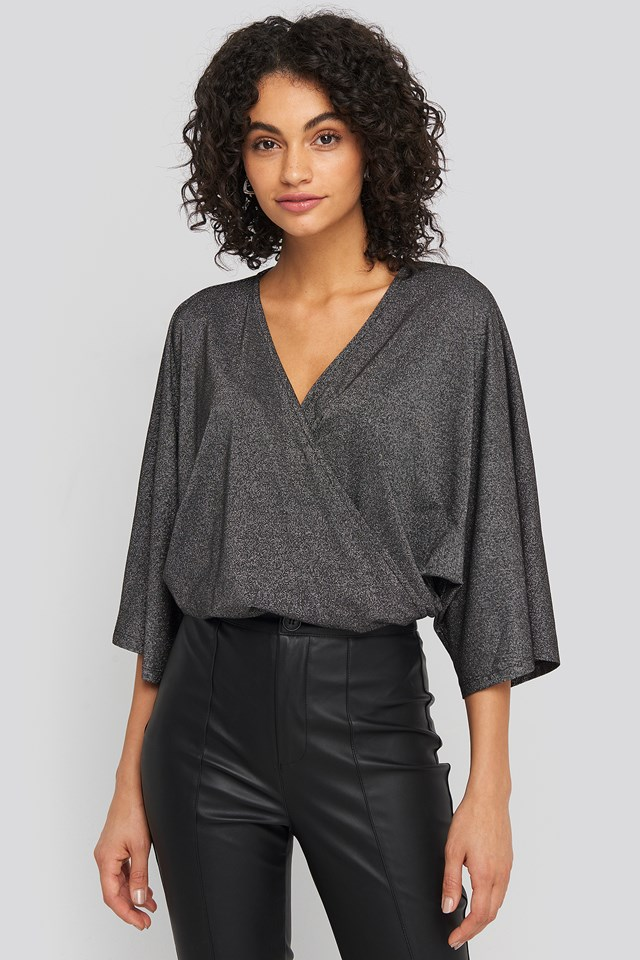 Kimono Sleeve Lurex Bodysuit Black
