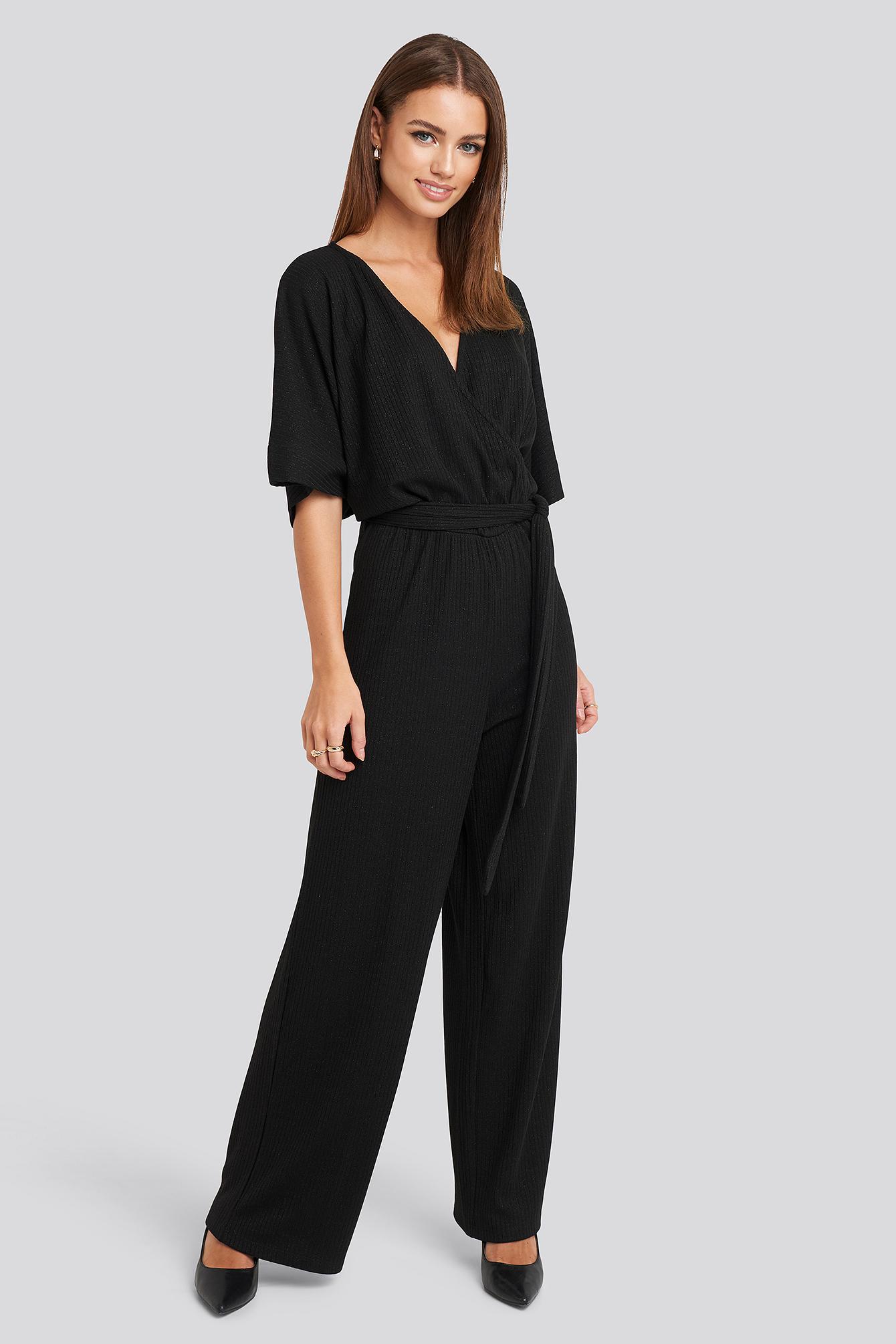 NA-KD Party Kimono Sleeve Lurex Jumpsuit - Black | Bekleidung > Homewear | NA-KD Party