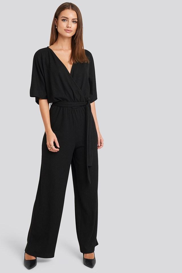 Kimono Sleeve Lurex Jumpsuit Black