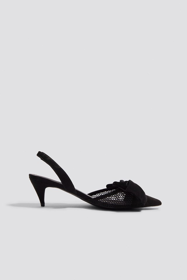 Kitten Heel Mesh Pumps Black