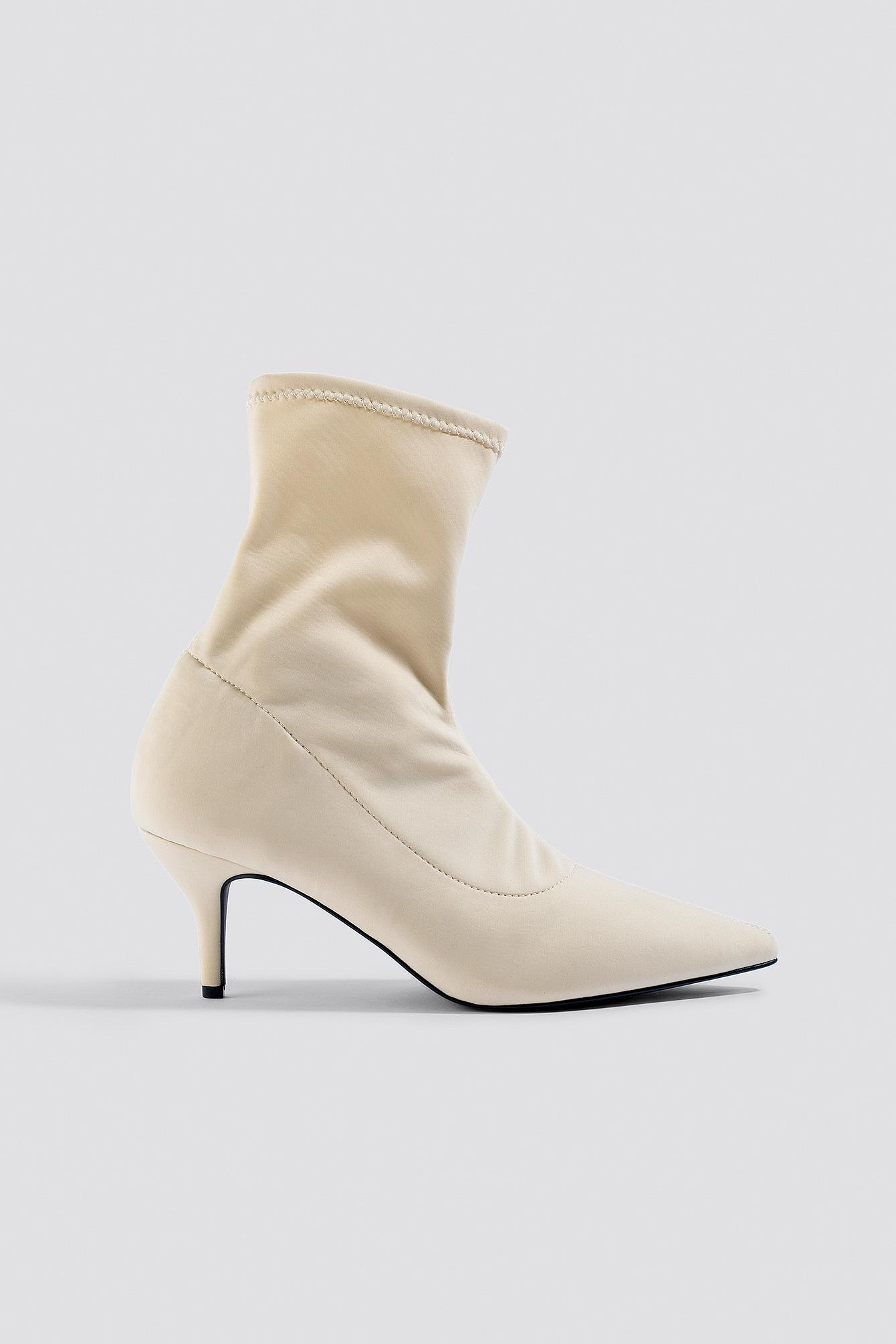 na-kd shoes -  Kitten Heel Sock Boot - Beige