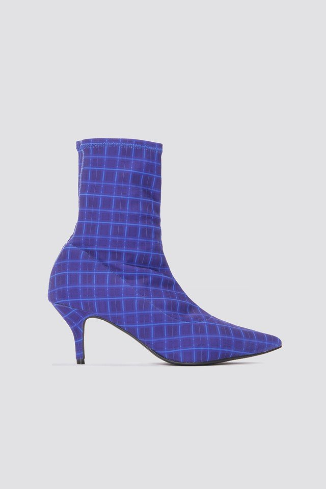 Kitten Heel Sock Boot Blue Check