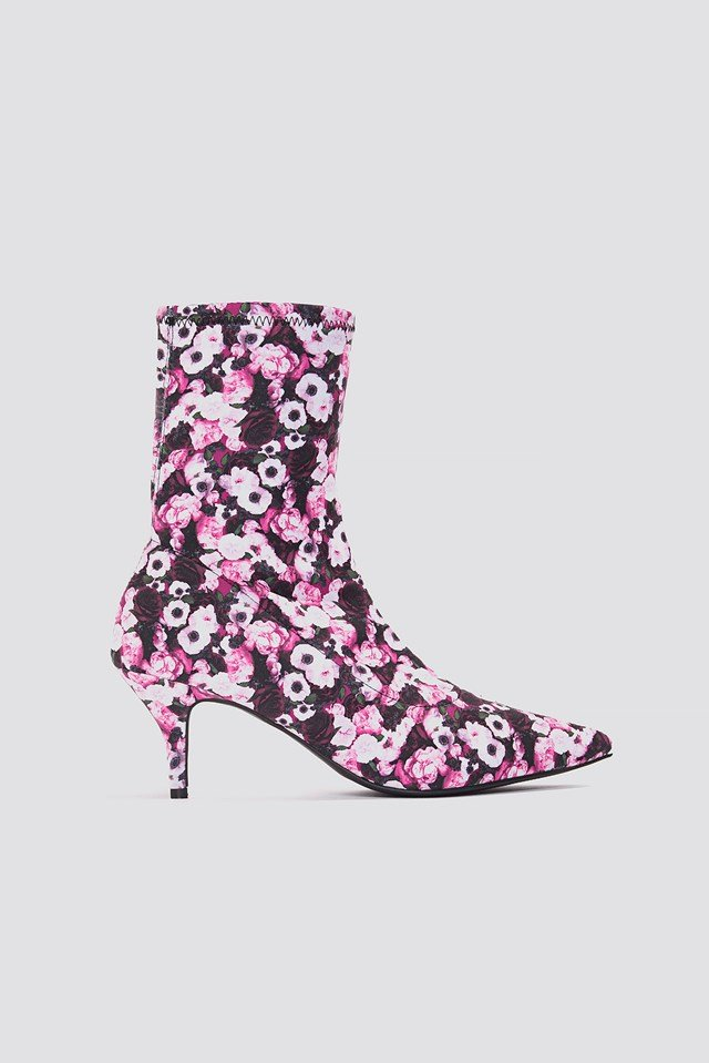 Kitten Heel Sock Boot Pink Flower