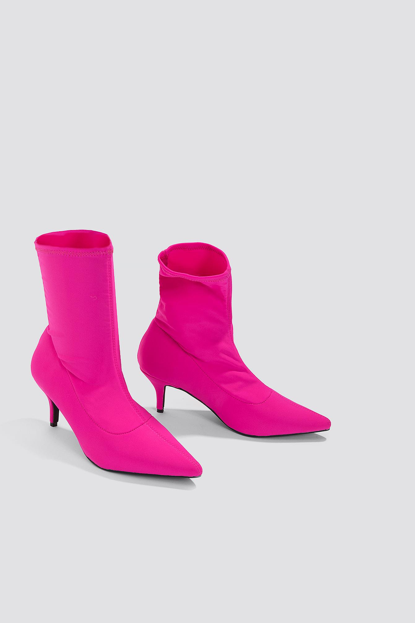NA-KD Kitten Heel Sock Boot - Pink