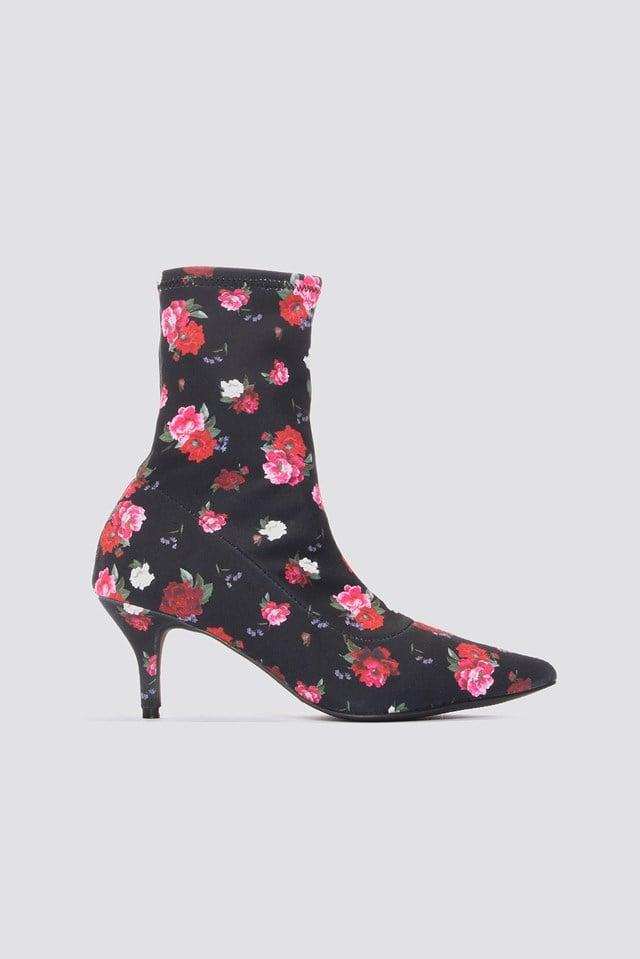 Kitten Heel Sock Boot Black Flower Print