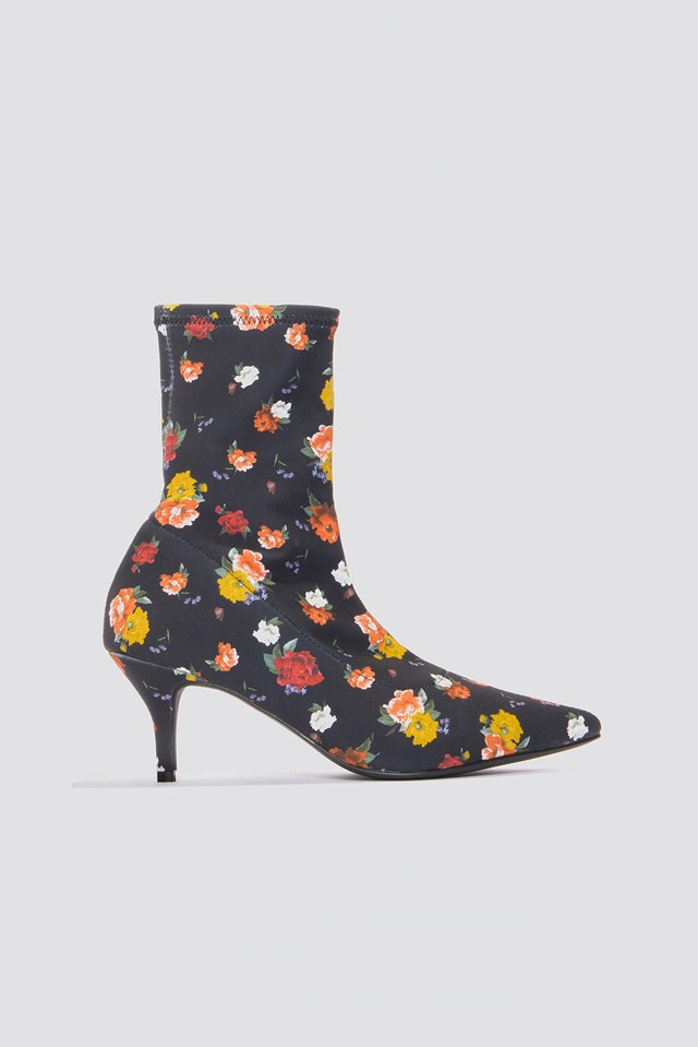 Kitten Heel Sock Boot Yellow Flower