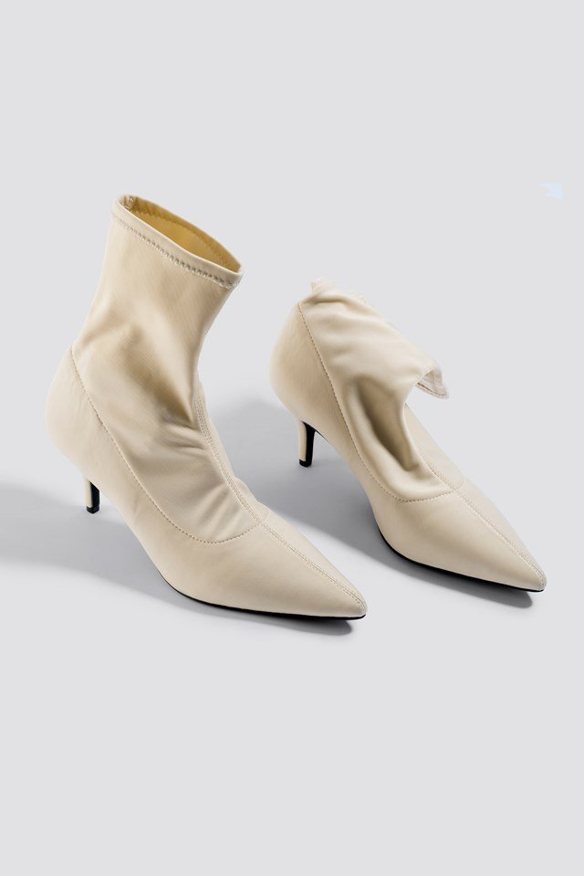 Kitten Heel Sock Boot Beige
