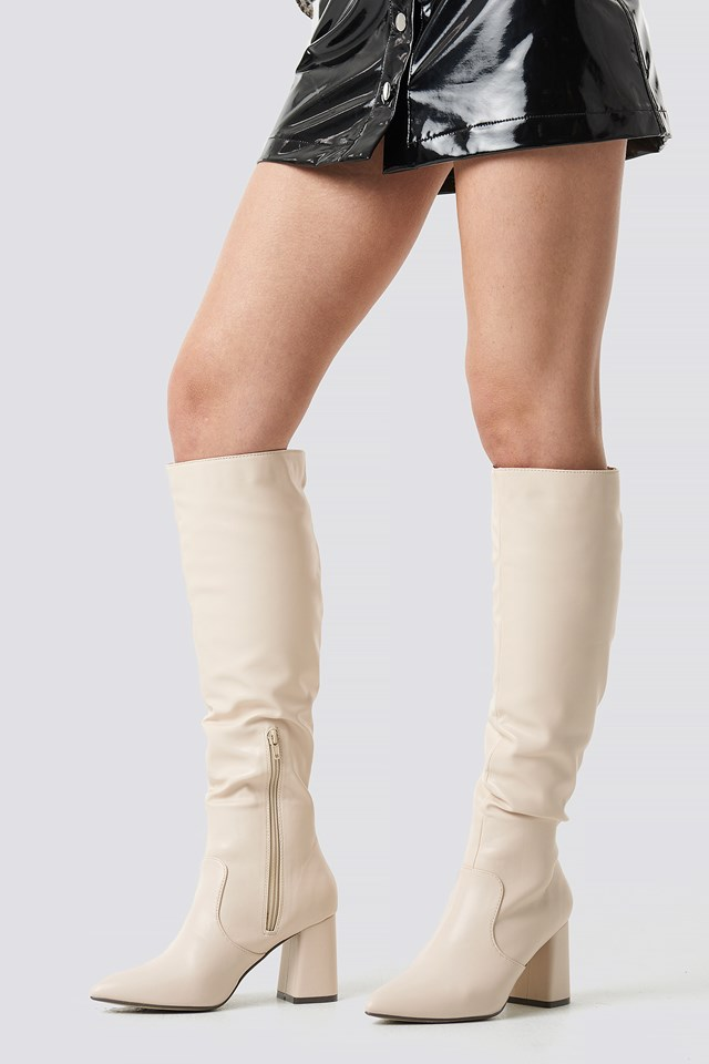 Knee High Block Heel Boots Offwhite
