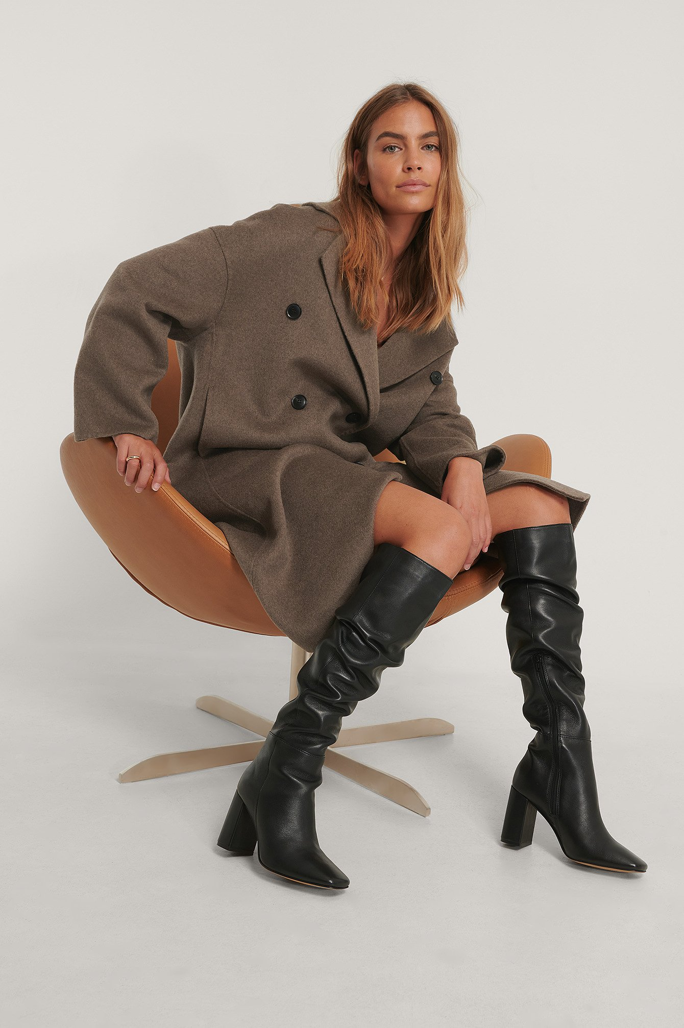 Na-Kd Shoes Knee High Leather Boots - Black