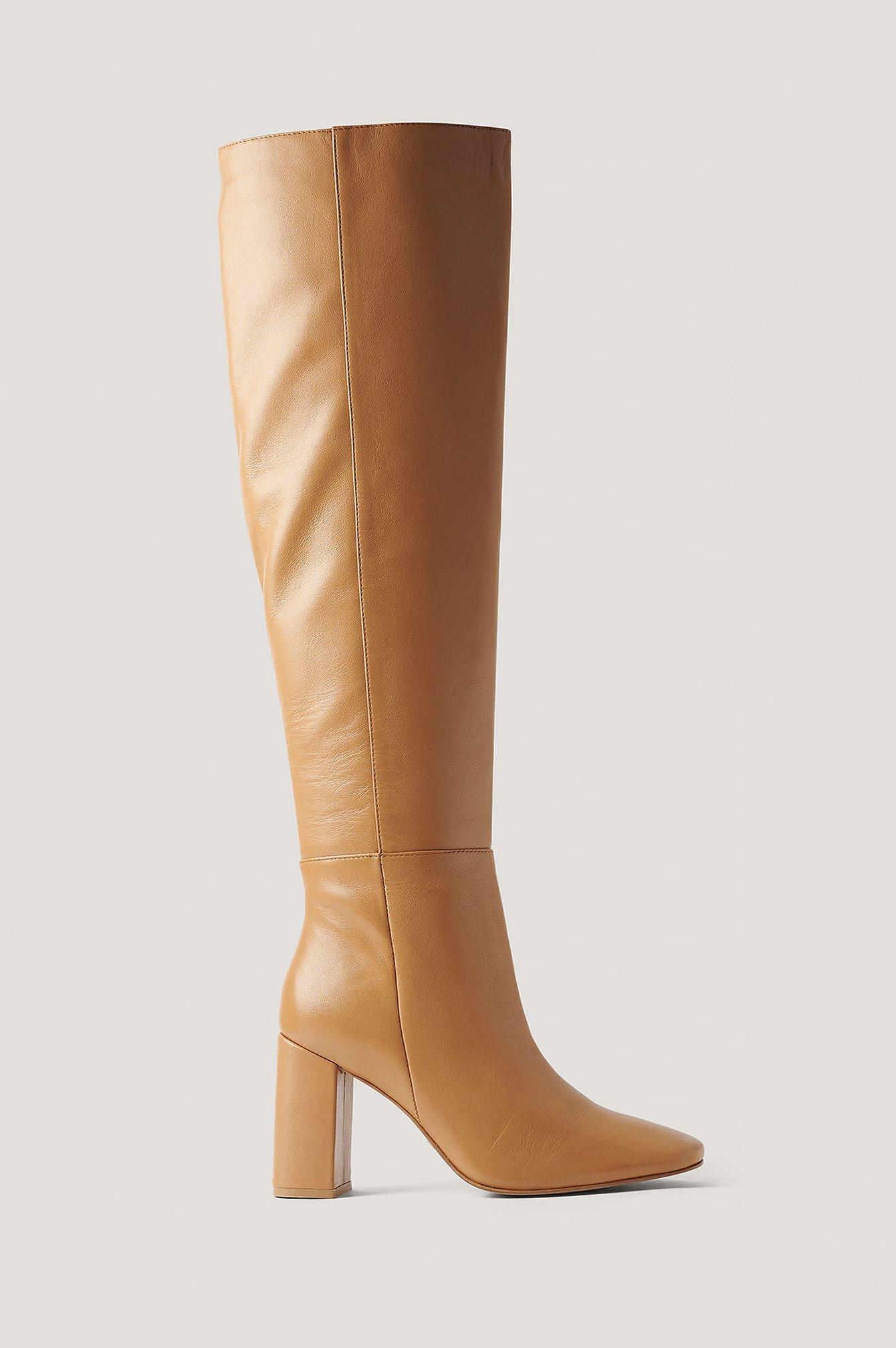 na-kd shoes -  Kniehohe Lederstiefel - Beige