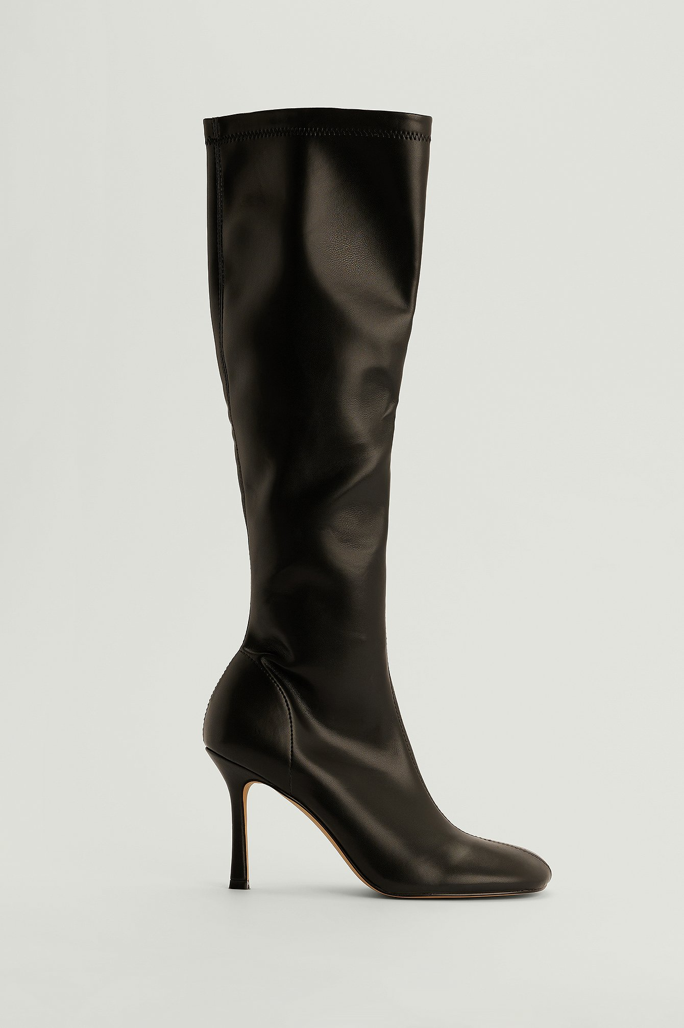 NA-KD Shoes Knee High Rounded Toe Boots - Black