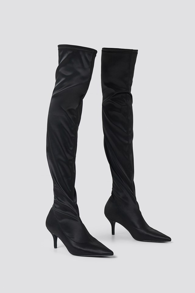 Knee High Satin Sock Boot Black