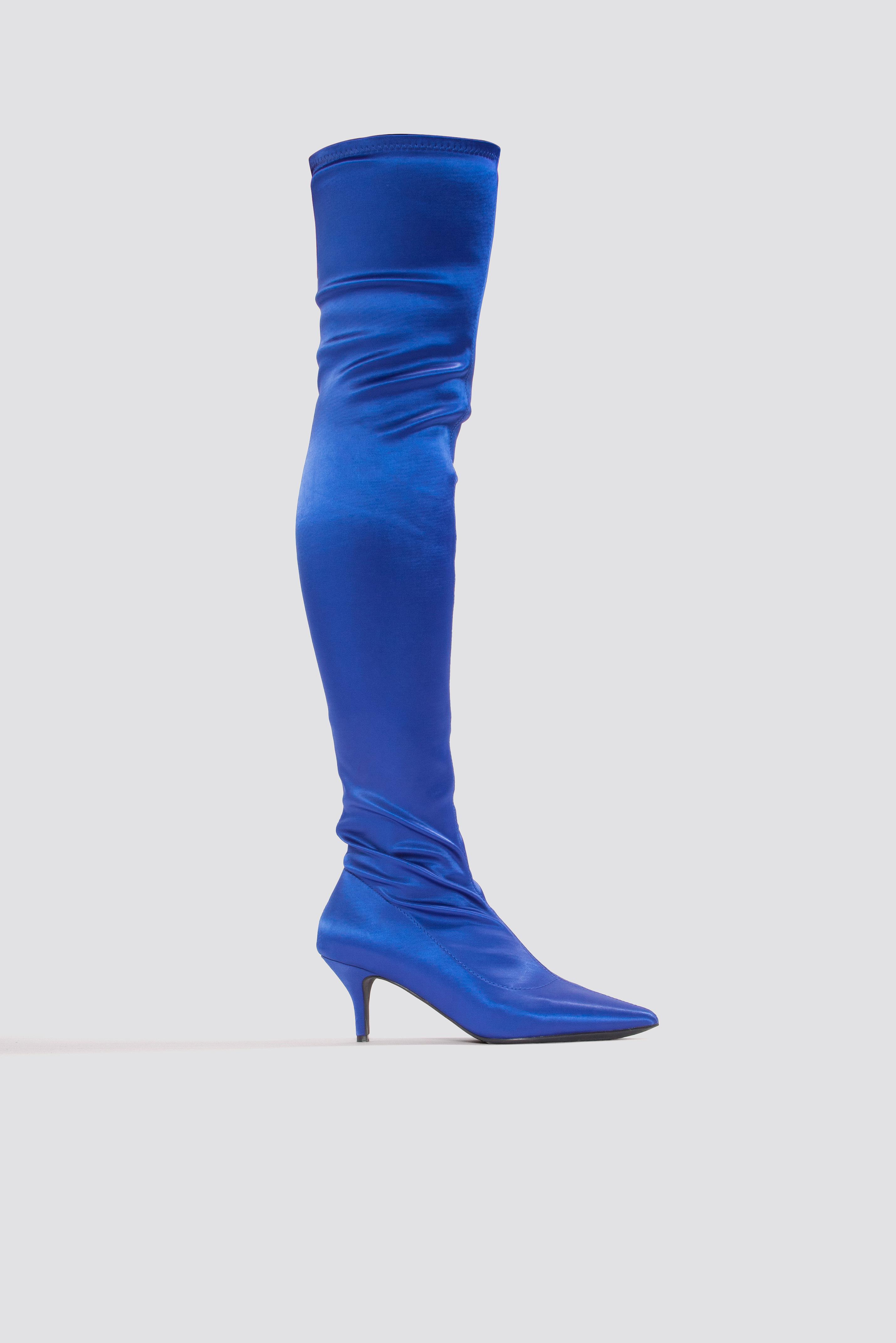 Knee High Satin Sock Boot Blue   na-kd.com