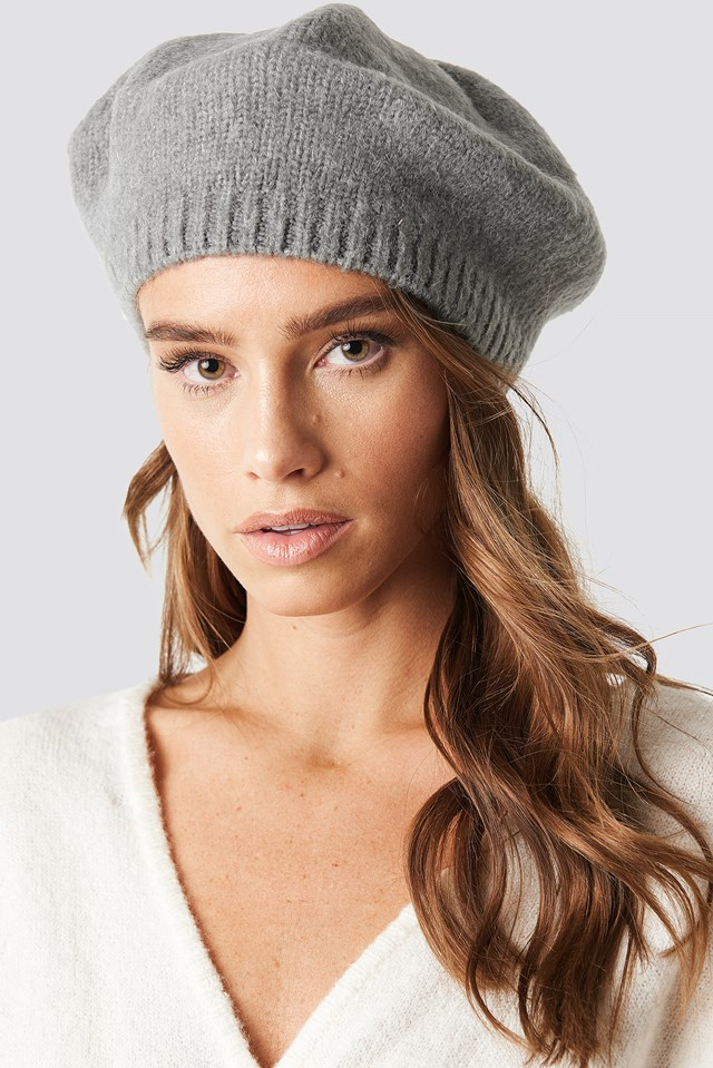 Knitted Beret Hat Grey