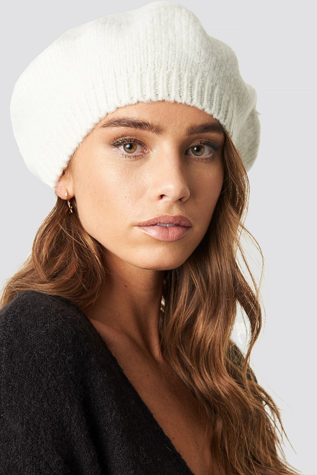Knitted Beret Hat White