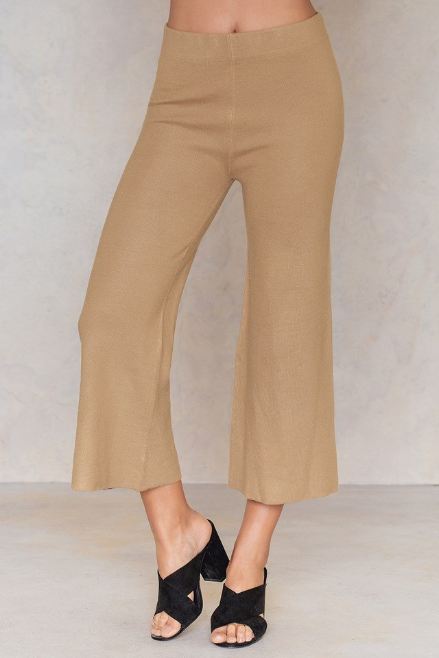 Knitted Culotte Pants Beige
