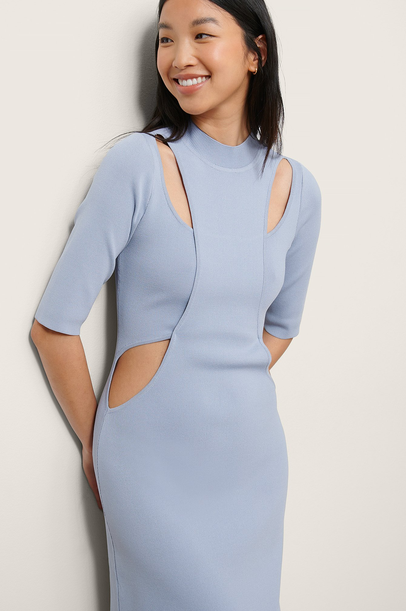 Dusty Blue Knitted Cut Out Dress