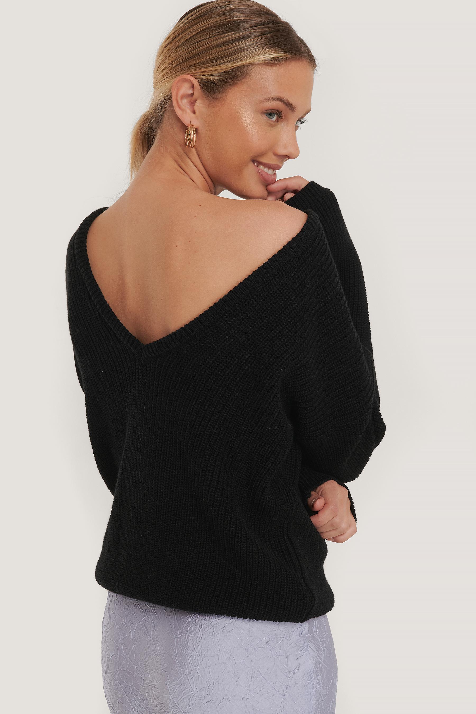 Folded Knitted Sweater Grey   na-kd.com