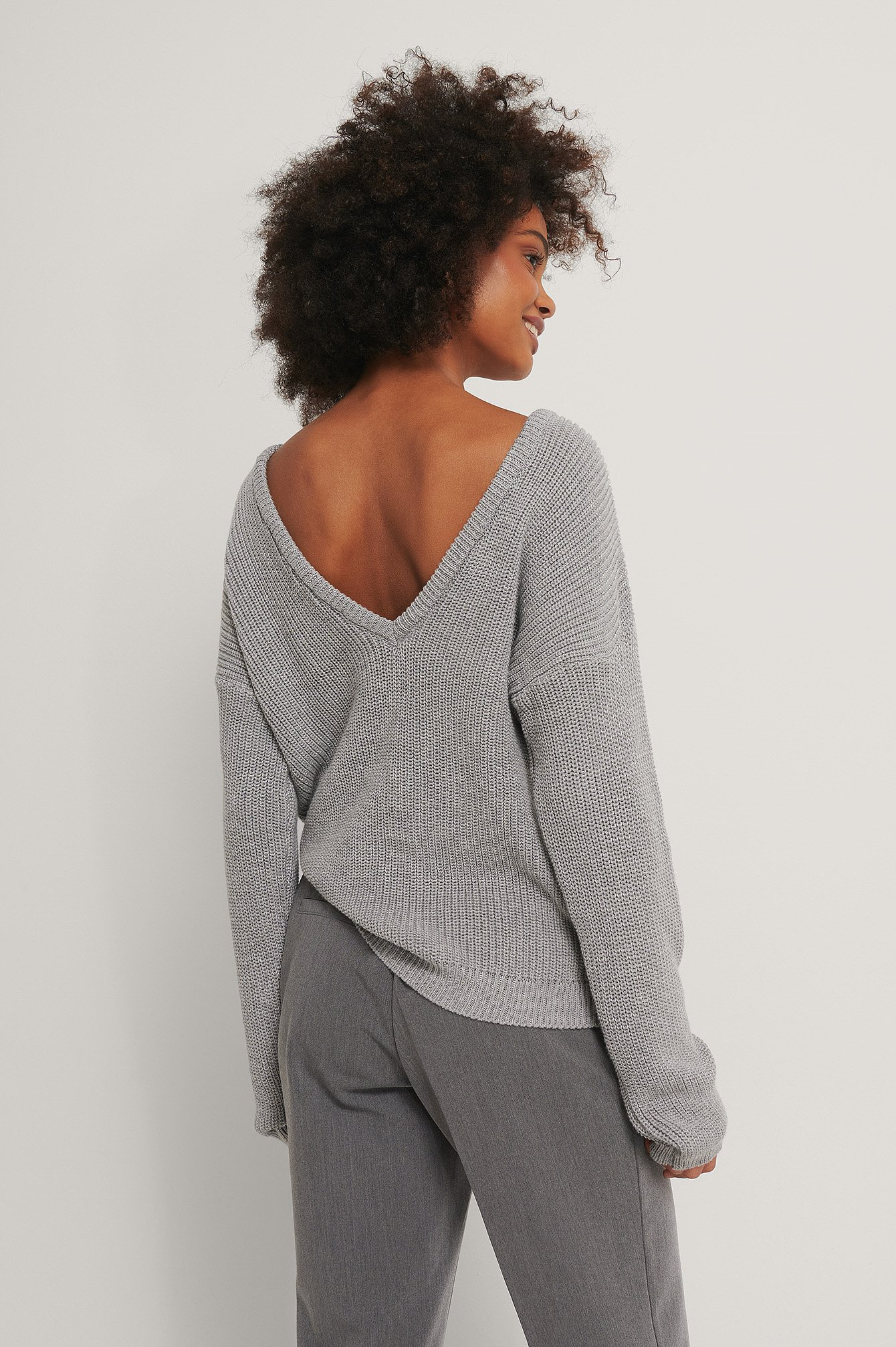 Grey Knitted Deep V-neck Sweater