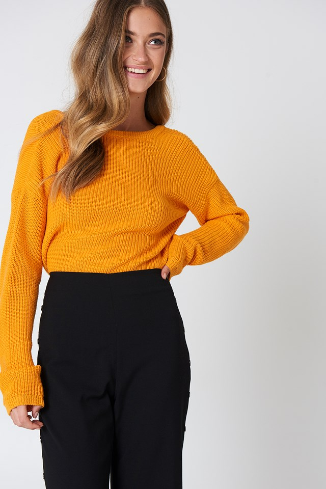 Knitted Deep V-neck Sweater Orange