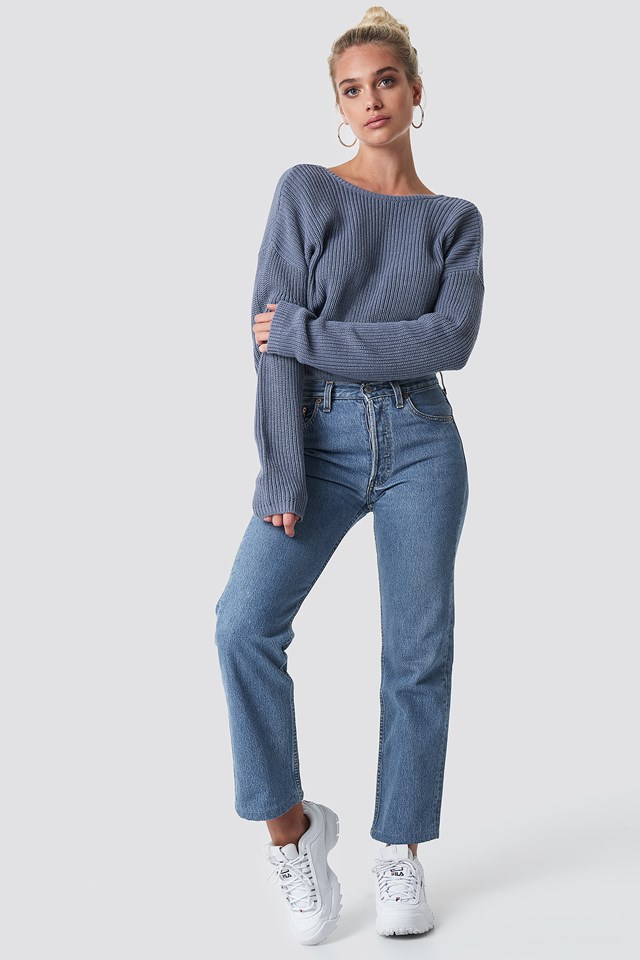 Knitted Deep V-neck Sweater Stone Blue