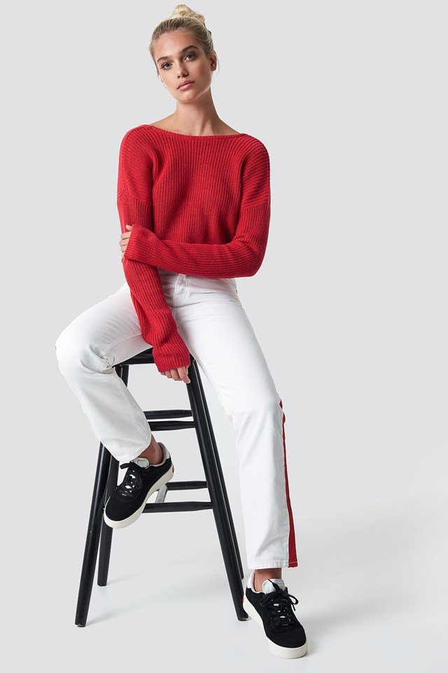 Knitted Deep V-neck Sweater Racing Red