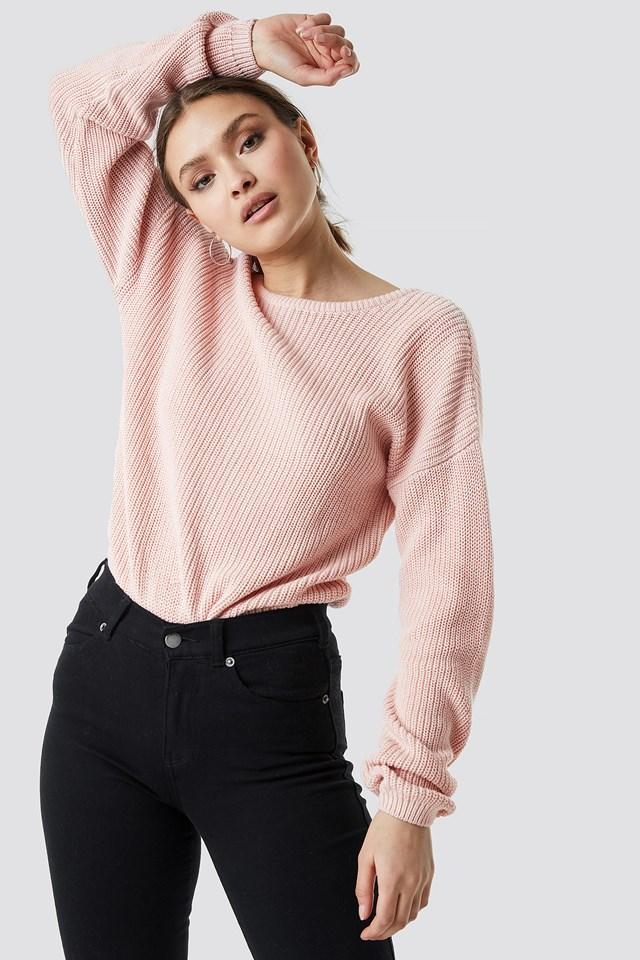 Sweter z dzianiny z dekoltem V Dusty Light Pink