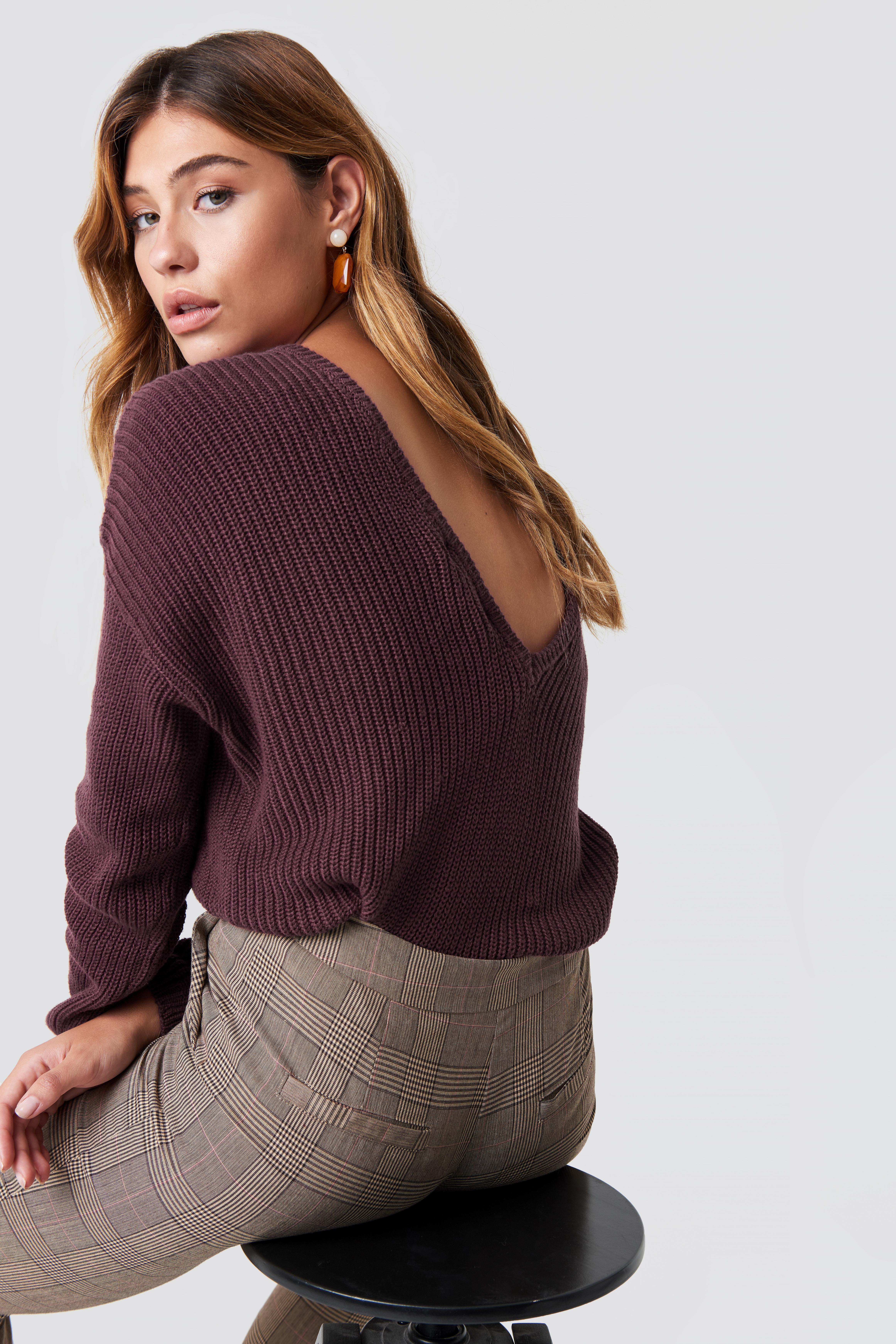 Sweter z dzianiny z dekoltem V NA-KD.COM