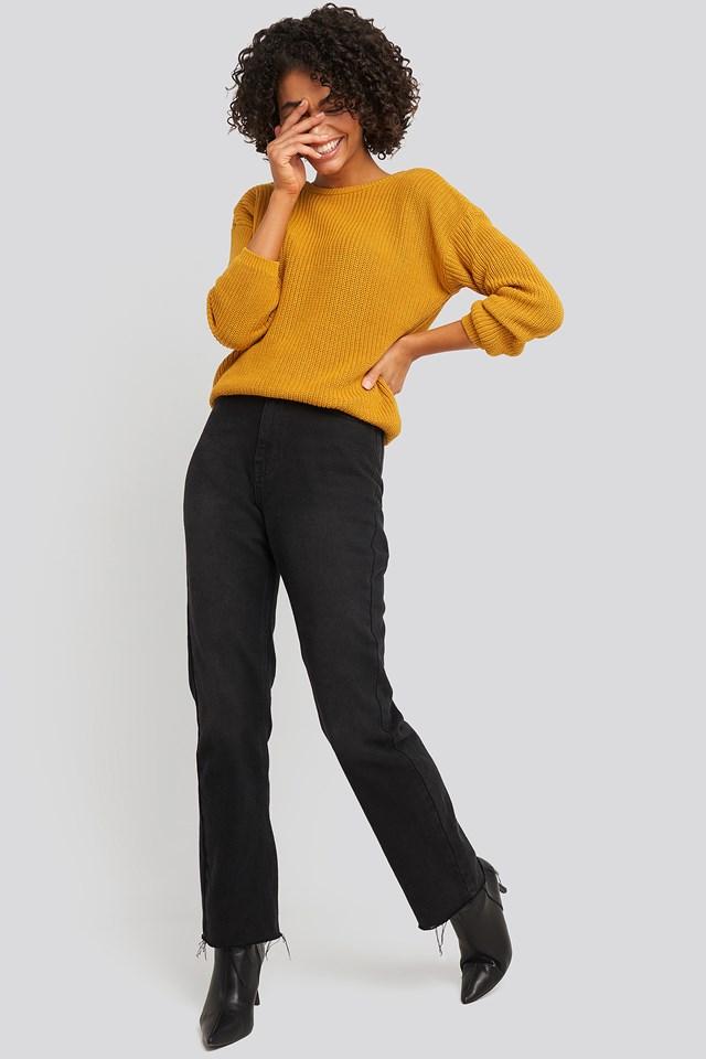 Knitted Deep V-neck Sweater Mustard