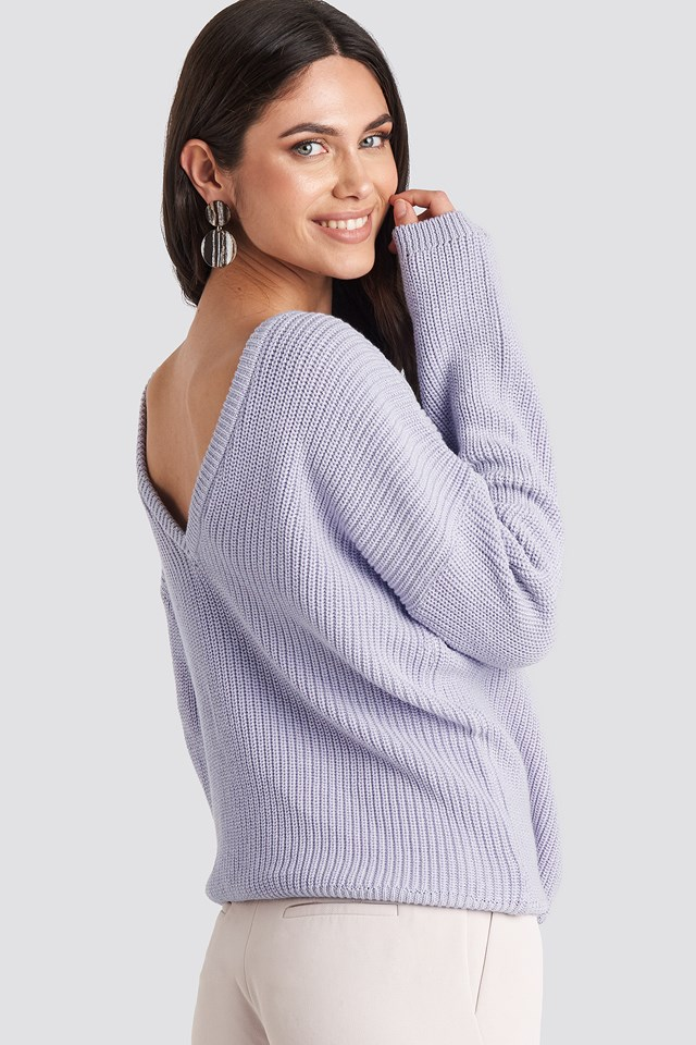 Knitted Deep V-neck Sweater Dusty Light Purple